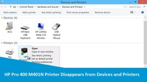 HP Pro 400 M401N Printer Disappears from Devices