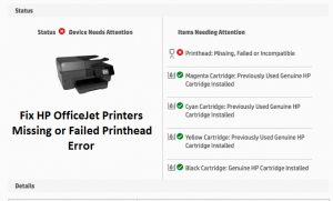 HP OfficeJet Printers Missing or Failed Printhead